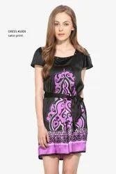 Purple Ladies Party Wear Satin Dress