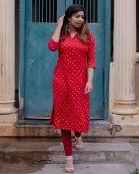 Party Wear Straight Ladies Designer Red Rayon Kurti, Wash Care: Handwash