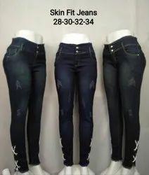 Ladies Stretchable Skin Fit Denim Jeans, Waist Size: 28-34
