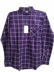 Checks Blue Mens Casual Oxford Cotton Shirt, Machine wash