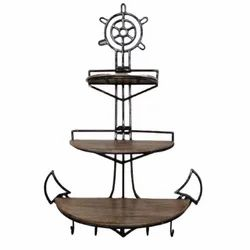 Medieval Edge Brown Modern Stylish Anchor Shaped Wall Mounted Shelf For Wall Decoration, 3, Size: 105 Cm X 74 Cm