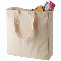 White Plain Loop Handle Cotton Bag, For Shopping