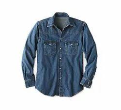 Plain Full Sleeves Men Blue Denim Shirt