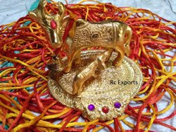 Rc Exports Excellent  Golden Kamdhenu Cow And Calf Set (Sankranti Collection)