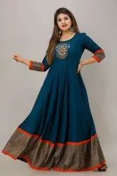 Festive Wear 3/4th Sleeves Jaipurite Embroidered Long Gown In Indigo Blue
