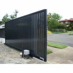 Black Mild Steel Automatic Sliding Gate, For Industrial