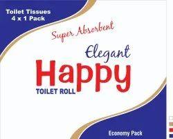 White Plain Happy Premium Toilet Roll-4Pcs, Packet