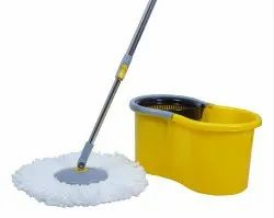 Esquire Elegant Yellow 360 Degree Spin Plastic Bucket Mop with Extra 1 Refill
