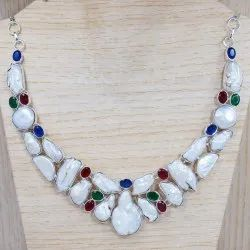 Pearl And Multi Gemstone Jewelry 925 Sterling Silver Fine Necklace SJWN-22