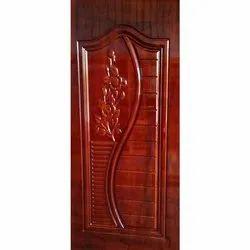 Brown Coated Wooden Door