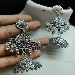 Oxidised Peacock Design Earrings