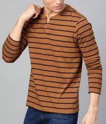 Men Rust Brown & Navy Blue Striped Henley Neck T-Shirt