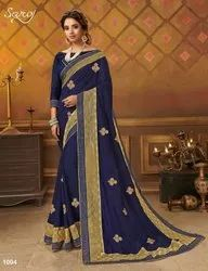 Vichitra Silk With Net Patta Saree