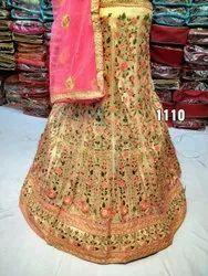 Lemon Wedding Wear Girlish Embroidered Fancy Lehenga