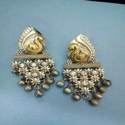 Brass Dual Tone Earrings