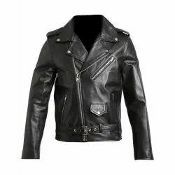Casual Wear Black Men Full Sleeve Leather Jacket, Size: Medium
