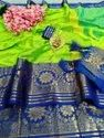 Pure cotton silk with full saree emboos look