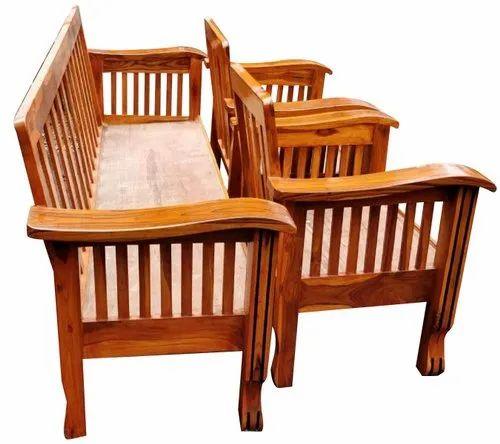 Brown Teak Wood Sofa Set For Home Rs, Carpenter Teak Wood Sofa Set Designs Pictures