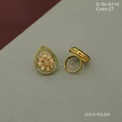 American Diamond Mehendi Polish Finger Ring