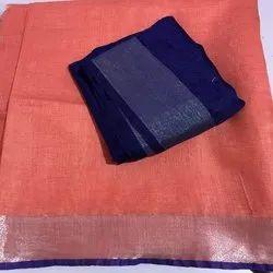 Women's Pure Cotton Slub Light Blue Organic Saree With Plain Zari Border Light Blue Blouse Piece