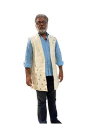 Printed Cream Mens Cotton Silk Indo Western Coat, Size: Small