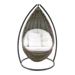 Grey Metal,Wicker CFI-144 Single Seater Swing, For Outdoor,Garden