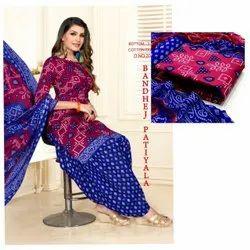 Cotton Stitched Bandhej Patiala Suit