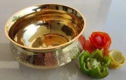 Round Brass Embossed Design Handi, Serve ware & Tableware, For Serving Purpose, Capacity: 350 Ml