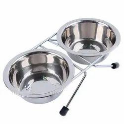 Steel Pet Utensils Double Dinner Stand