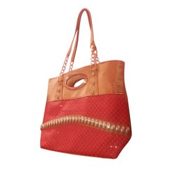 Faux Leather Embroidered Red Brown Designer Ladies Hand Bag