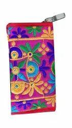 Embroidered Cotton Handmade Ladies Hand Clutch Purse, Size: 4 X 2.5 X 9 Inch