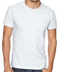 Round Half Sleeve Mens White Plain T Shirt, Size: S to XL