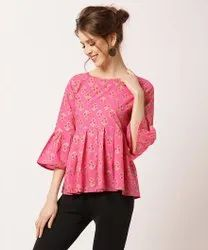 Cotton Casual Wear Pink Printed Girls Top