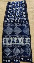 Casual Wear Blue Cotton Block Printed Saree, 6.3 m (with blouse piece)