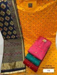 Wedding Wear Fancy Embroidery Chanderi Suit With Banarasi Dupatta