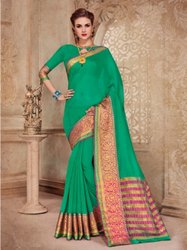 Festive Wear Green, Golden and Pink Green Bordered Liva Silk Saree, 6 m (with blouse piece)