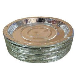 Plain Disposable Silver Foil Laminated Paper Plate, Paper GSM: 80, Size: 8 Inch