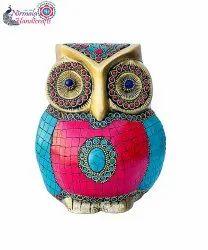Nirmala Handicrafts Exporter Brass Stone Finish Handicrafts Owl Statue Home/office Showpiece