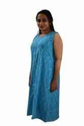 Casual Wear Sky Blue Designer Cotton Kurti, Wash Care: Handwash