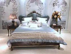 Dark Teak Wood Queen Bed, For Home