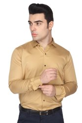Full Sleeve Plain Men Golden Cotton Satin Slim Fit Shirts