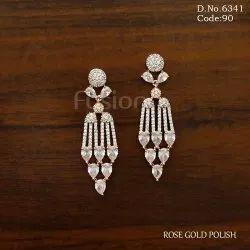 Brass Classic Earring Rose Gold American Diamond Earrings