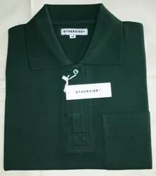 Polo Collar Tshirt With Pocket Poly Cotton T Shirts, Age Group: Adult