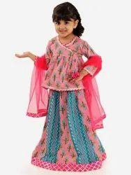 Festive & Traditional Wear Cotton Peplum Choli With Kalidaar Lehenga (1 Year To 12 Years), Size: 6 Months -12 Years