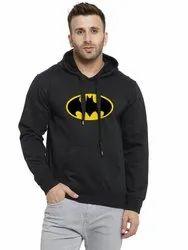 Customizable Cotton Men's Black Batman Printed Fleece Hoodie