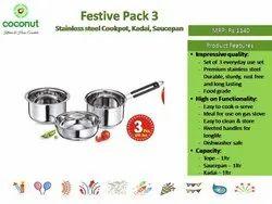 Coconut Festive Pack 3 Stainless Steel Cookpot, Kadai, Saucepan (MRP 1140)