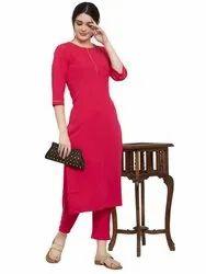 Formal Wear Straight Ladies Plain Kurti Set, Wash Care: Handwash