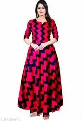 Pink And Blue Printed Ladies Long Gown, 100-200