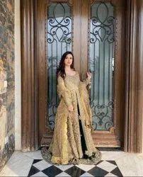 Golden Net Party Wear Dress