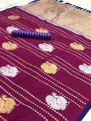 Leeza Store Embroidered Embroidery Wedding Wear Banarasi Silk Saree, 5.5 m (separate blouse piece)